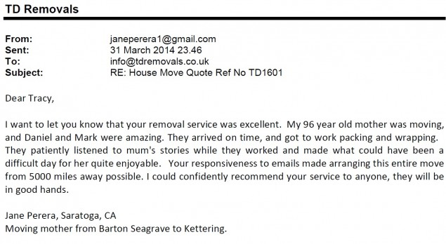 Jane Perera Barton Seagrave to Kettering Retirement Home Move